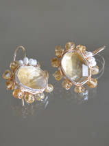 earrings Oval Mandala citrine