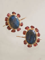 earrings Oval Mandala labradorite and garnet