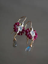 earrings Flower mini ruby and labradorite