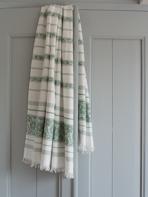 hammam towel with flowers, greyish green