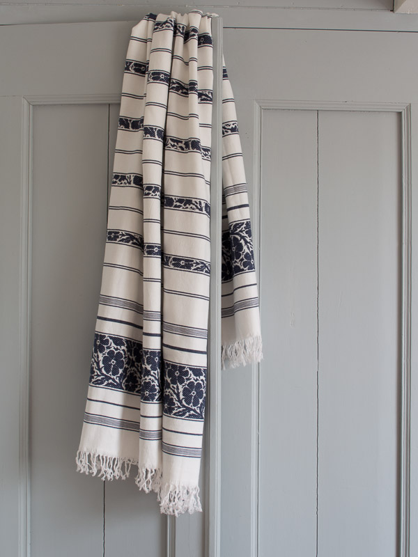 hammam towel with flowers, navy blue