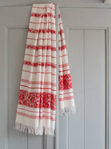 hammam towel with flowers, brick red