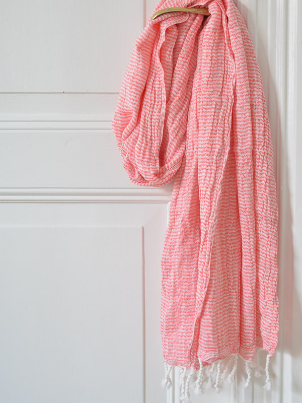 fouta double couche rouge corail