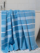 hammam towel bright blue/white