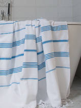 hammam towel white/bright blue