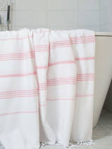 hammam towel white/powder pink