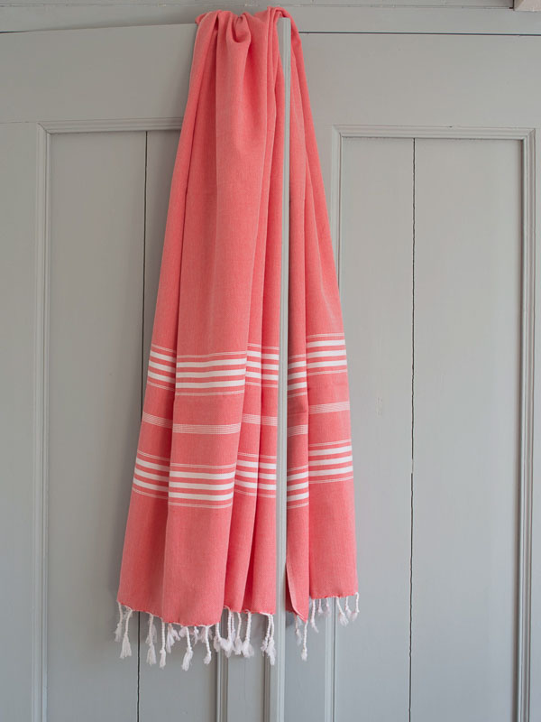 hammam towel coral red