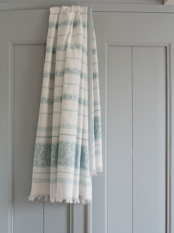 hammam towel with flowers, sea green