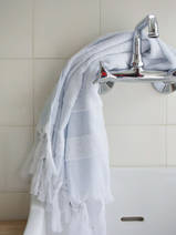 hammam towel with terry cloth, light blue