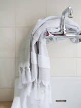hammam towel with terry cloth, grey-beige