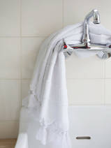 hammam towel with terry cloth, white