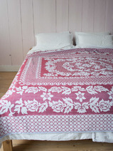 bedspread with flower pattern Cicek, cerise