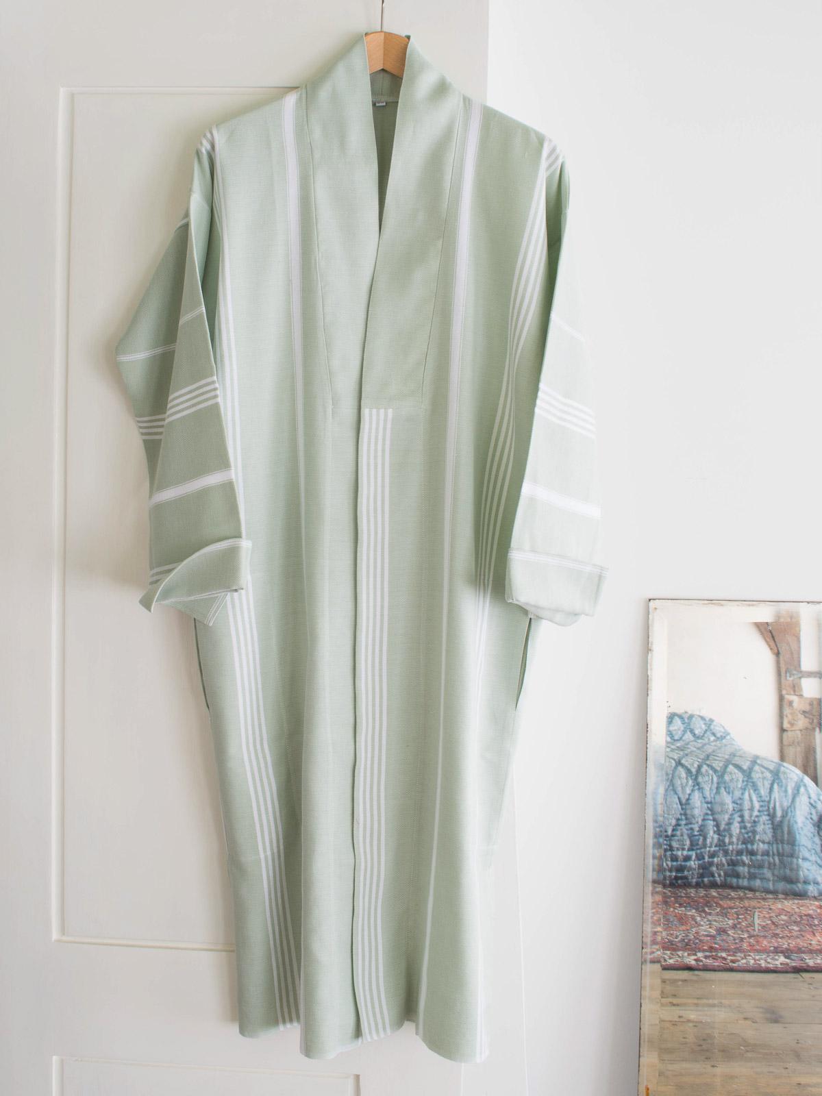 4faa493aa05 hammam bathrobe size S, sage green - hammam towel bathrobe size S -  bathrobes - slippers - Ottomania.nl | Official Ottomania Site