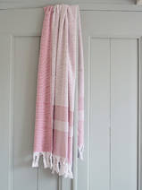 hammam towel with terry cloth, cerise
