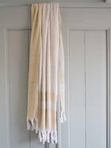 hammam towel with terry cloth, mustard