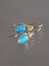 earrings Wire mini, blue opal