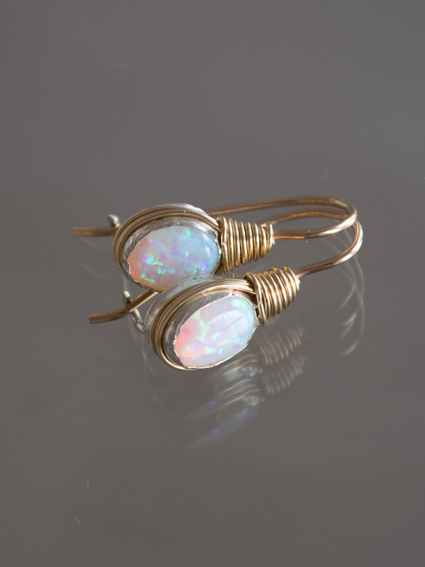 earrings Wire mini, opal