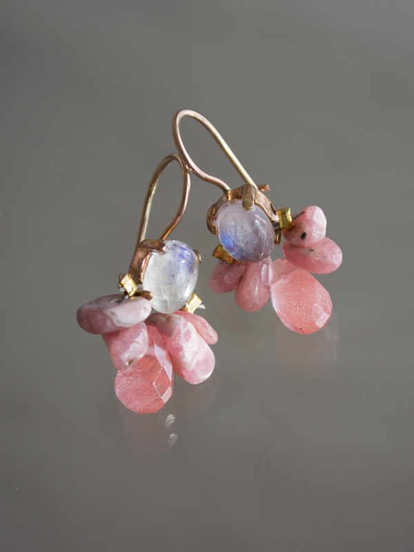 earrings Bee moonstone and rhodonite