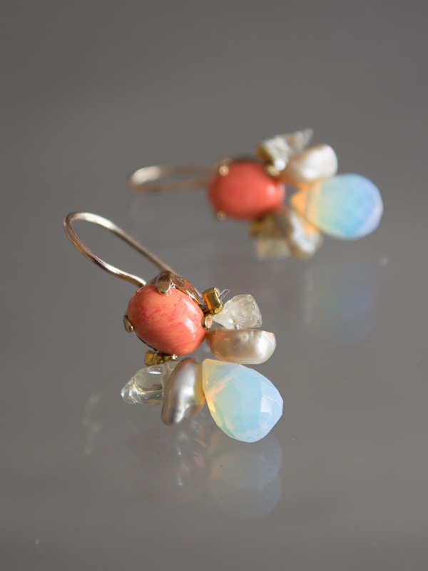 earrings Bee coral, pearls and opalite