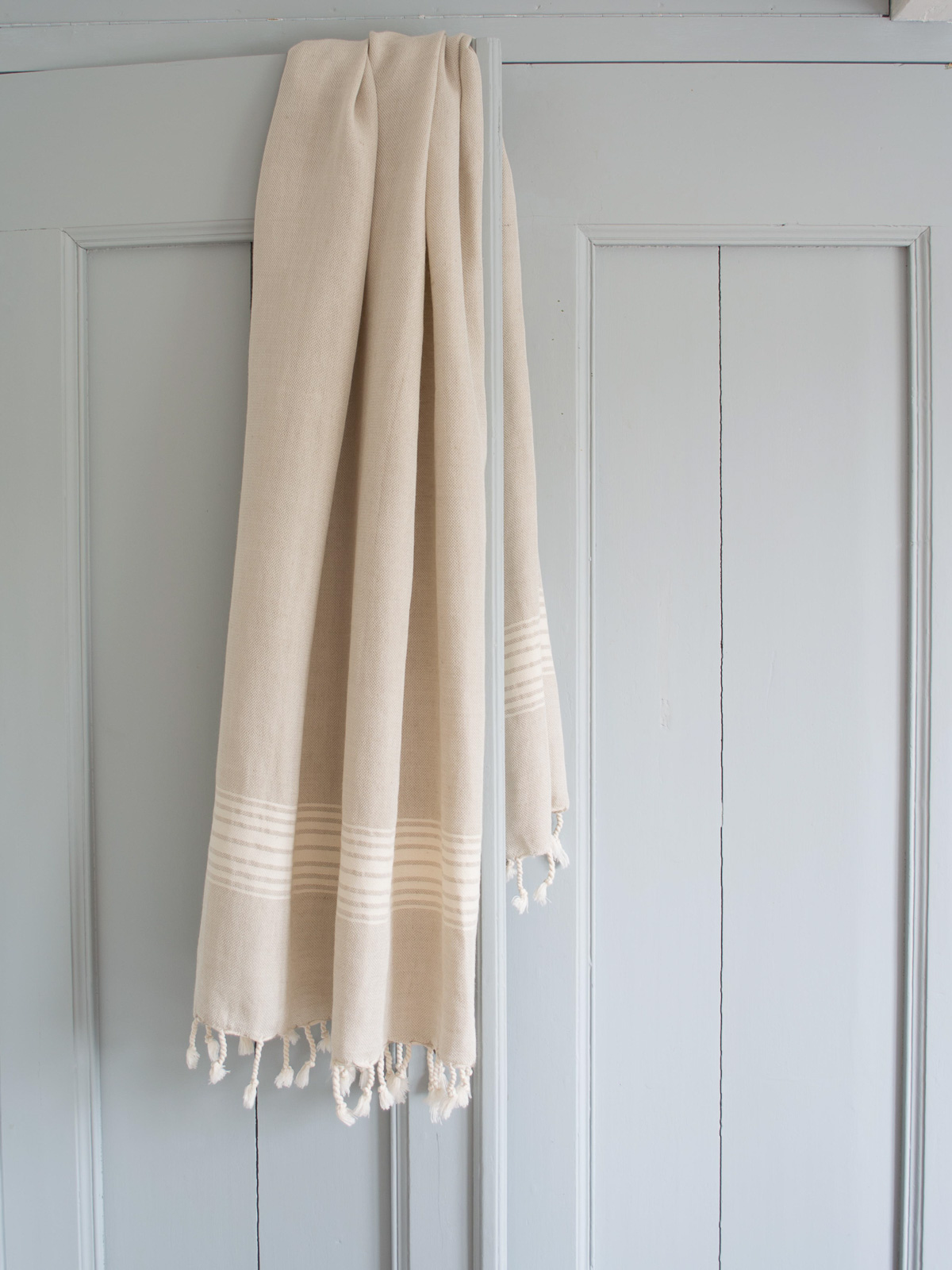 linen hamam towel ecru striped