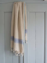 linen hamam towel greek blue striped