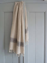 linen hamam towel black striped