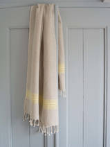 linen hamam towel yellow striped