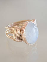 ring Wire Wrapped moonstone 17,5 mm