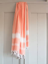 hammam towel dark peach/white