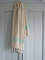linen hamam towel dark seagreen striped