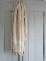 linen hamam towel light turquoise striped
