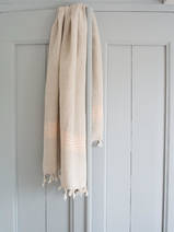 linen hamam towel peach pink striped