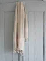 linen hamam towel pink striped