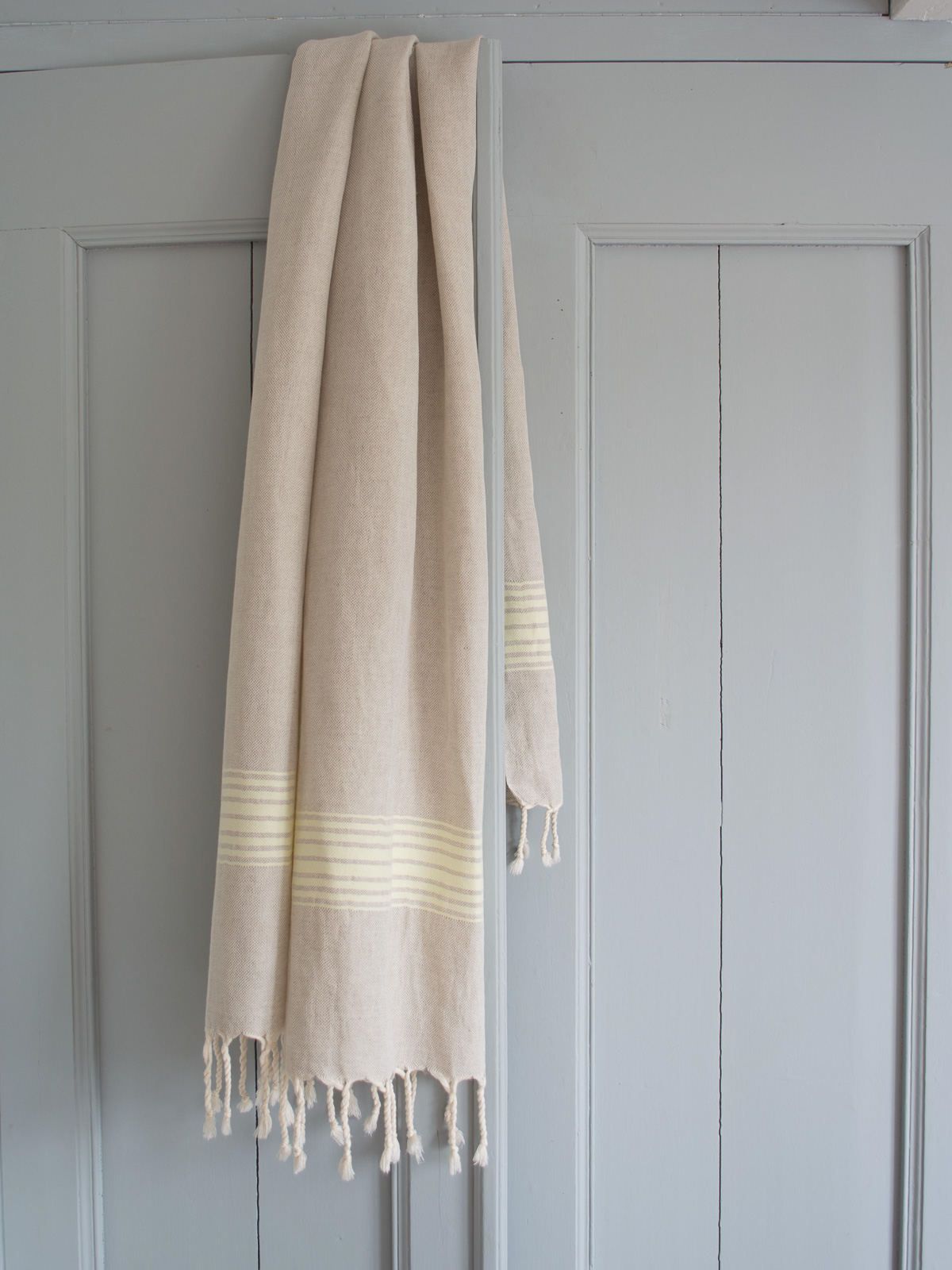 linen hamam towel lemon yellow striped