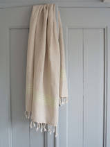 linen hamam towel light green striped