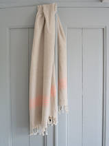 linen hamam towel dark peach striped