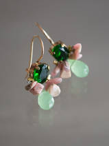 earrings Bee green crystal, rhodonite