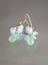 earrings Bee opal, aquamarine, green crystal