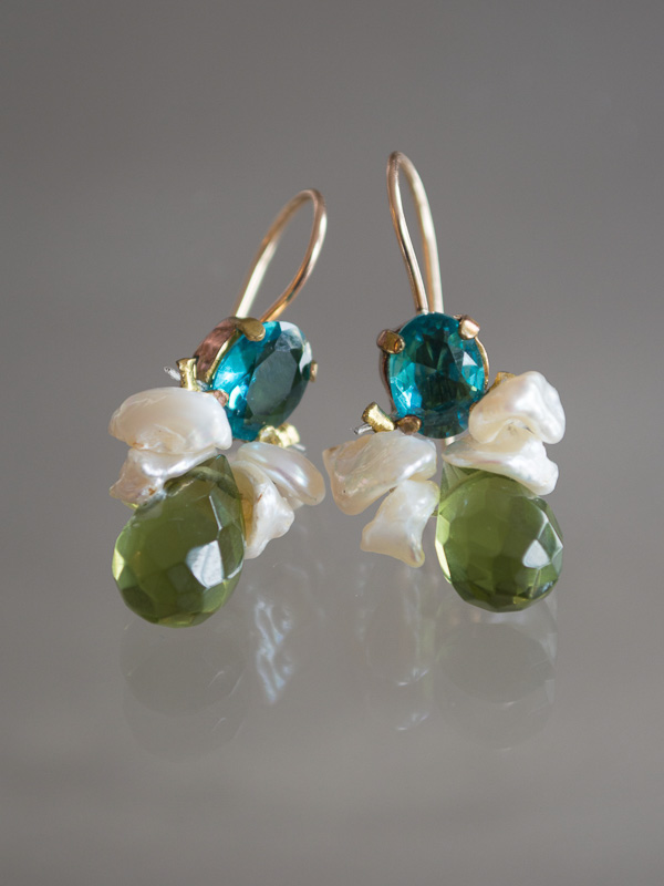 earrings Bee pearls, green and blue crystal