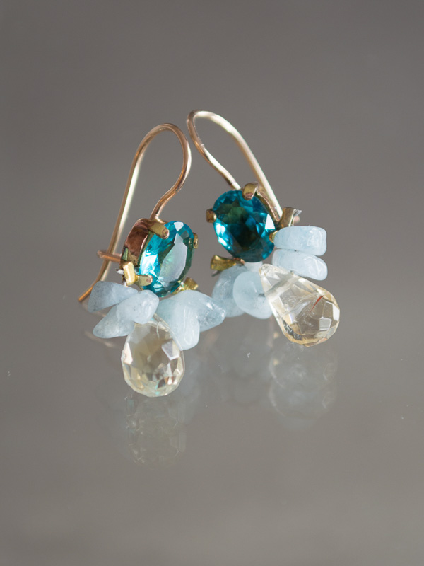 earrings Bee blue crystal, aquamarine, citrine