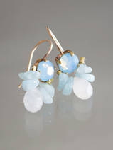 earrings Bee light blue crystal, aquamarine
