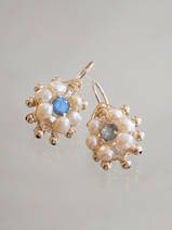 earrings Small Mandala pink pearls and labradorite