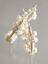 earrings Hoop pearls and moonstone