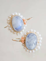 earrings Oval Mandala moonstone, pearls