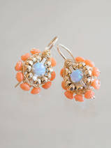 earrings Small Mandala coral and blue opal