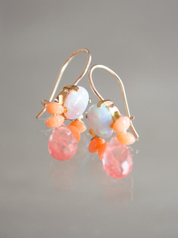 Earrings Bee Opal Coral Cherry Quartz Earrings
