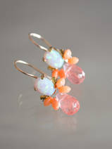 earrings Bee opal, coral, cherry quartz
