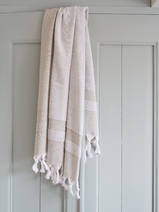 hammam towel with terry cloth, olive green