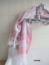 hammam towel with terry cloth, coral red