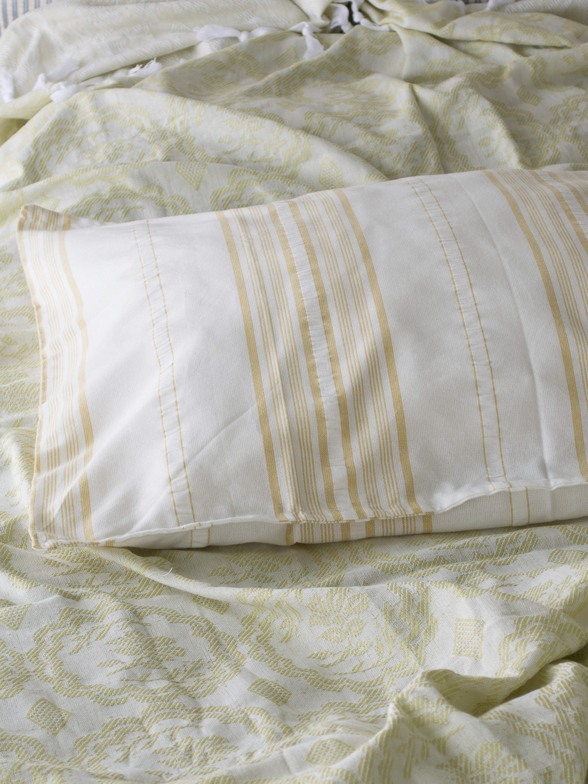 pillowcase mustard striped